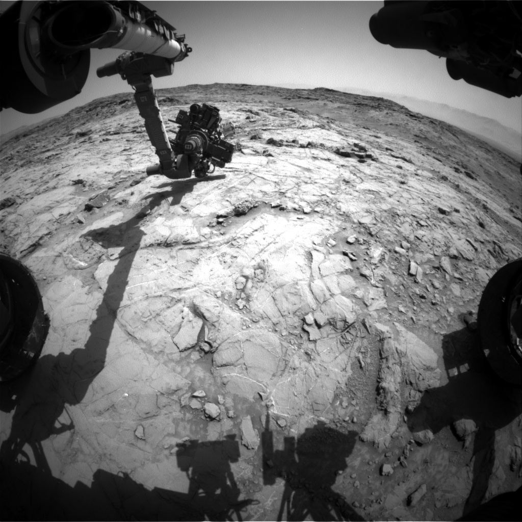 Nasa's Mars rover Curiosity acquired this image using its Front Hazard Avoidance Camera (Front Hazcam) on Sol 1356, at drive 2202, site number 54