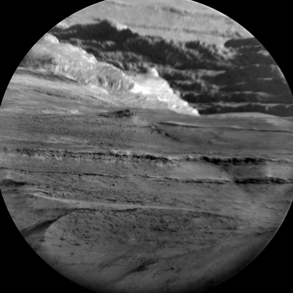 ChemCam view of Mt Sharp taken at the same time as a HiRISE image of the same area as seen from space.