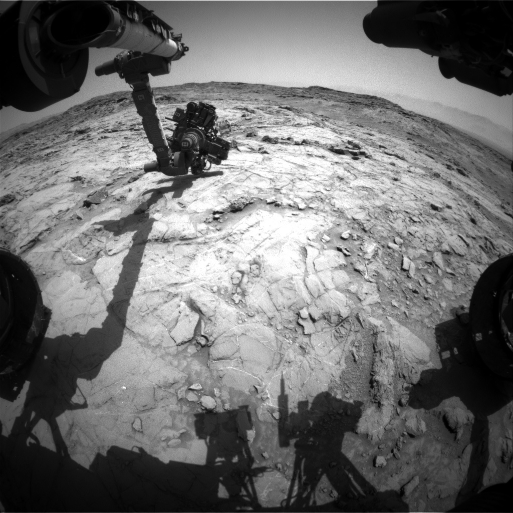 Nasa's Mars rover Curiosity acquired this image using its Front Hazard Avoidance Camera (Front Hazcam) on Sol 1357, at drive 2202, site number 54
