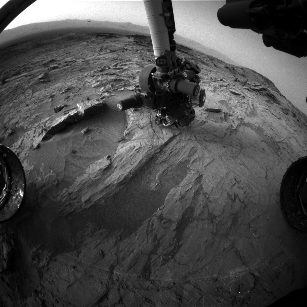 Nasa's Mars rover Curiosity acquired this image using its Front Hazard Avoidance Camera (Front Hazcam) on Sol 1358, at drive 2280, site number 54