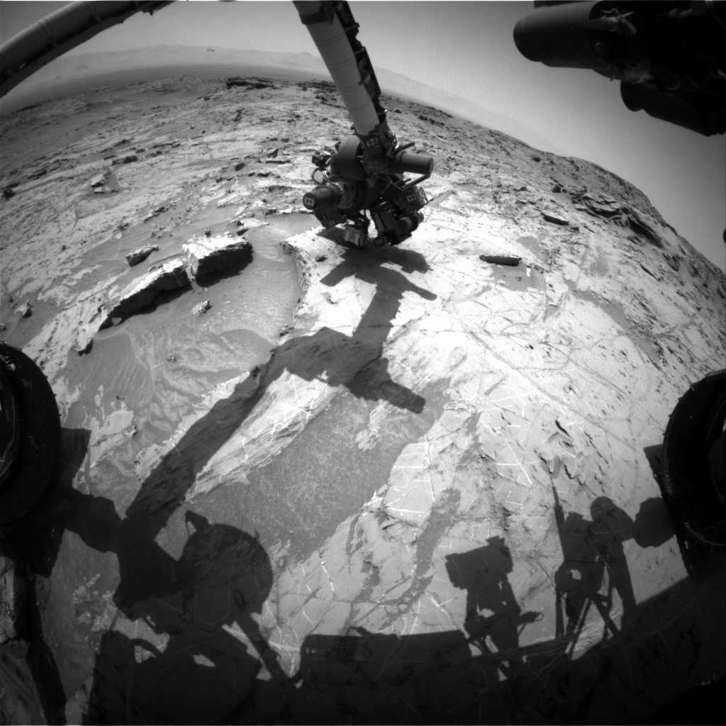 Nasa's Mars rover Curiosity acquired this image using its Front Hazard Avoidance Camera (Front Hazcam) on Sol 1360, at drive 2280, site number 54