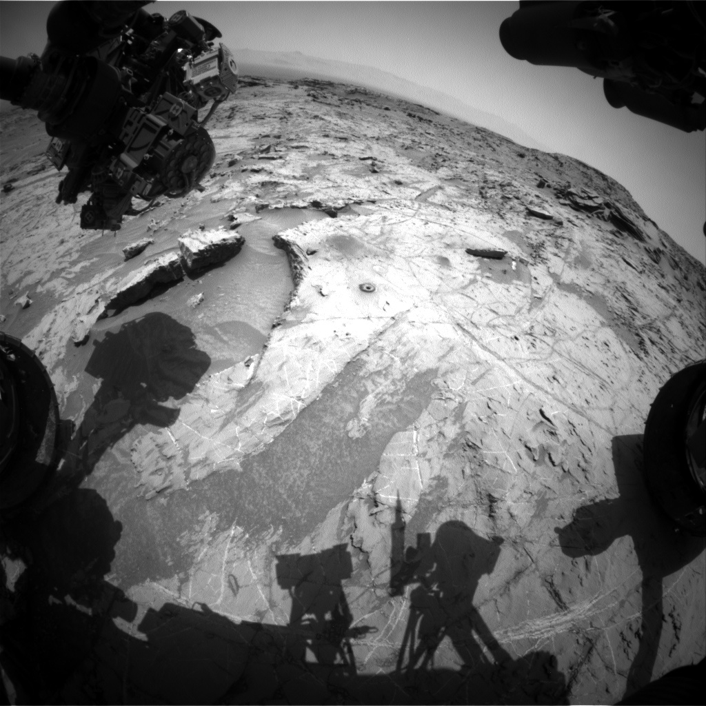 Nasa's Mars rover Curiosity acquired this image using its Front Hazard Avoidance Camera (Front Hazcam) on Sol 1368, at drive 2280, site number 54