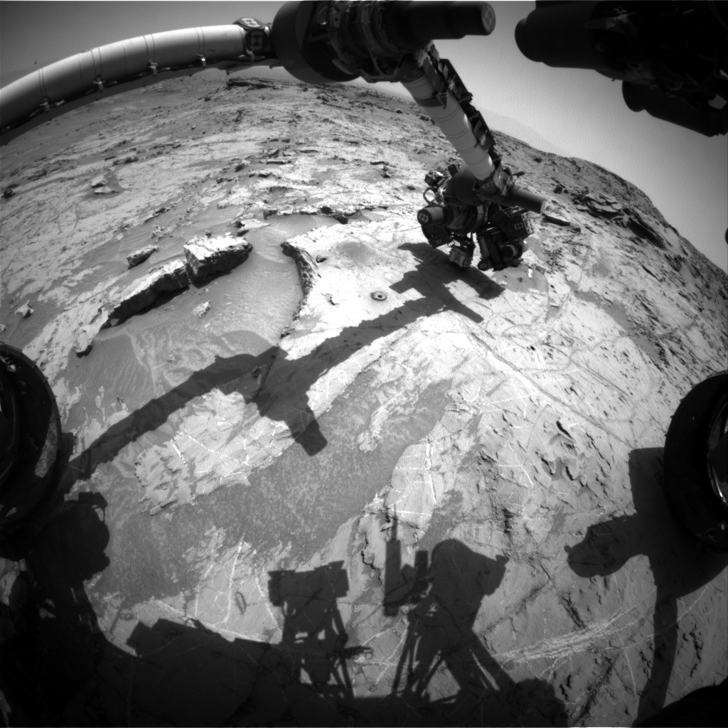 Nasa's Mars rover Curiosity acquired this image using its Front Hazard Avoidance Camera (Front Hazcam) on Sol 1369, at drive 2280, site number 54