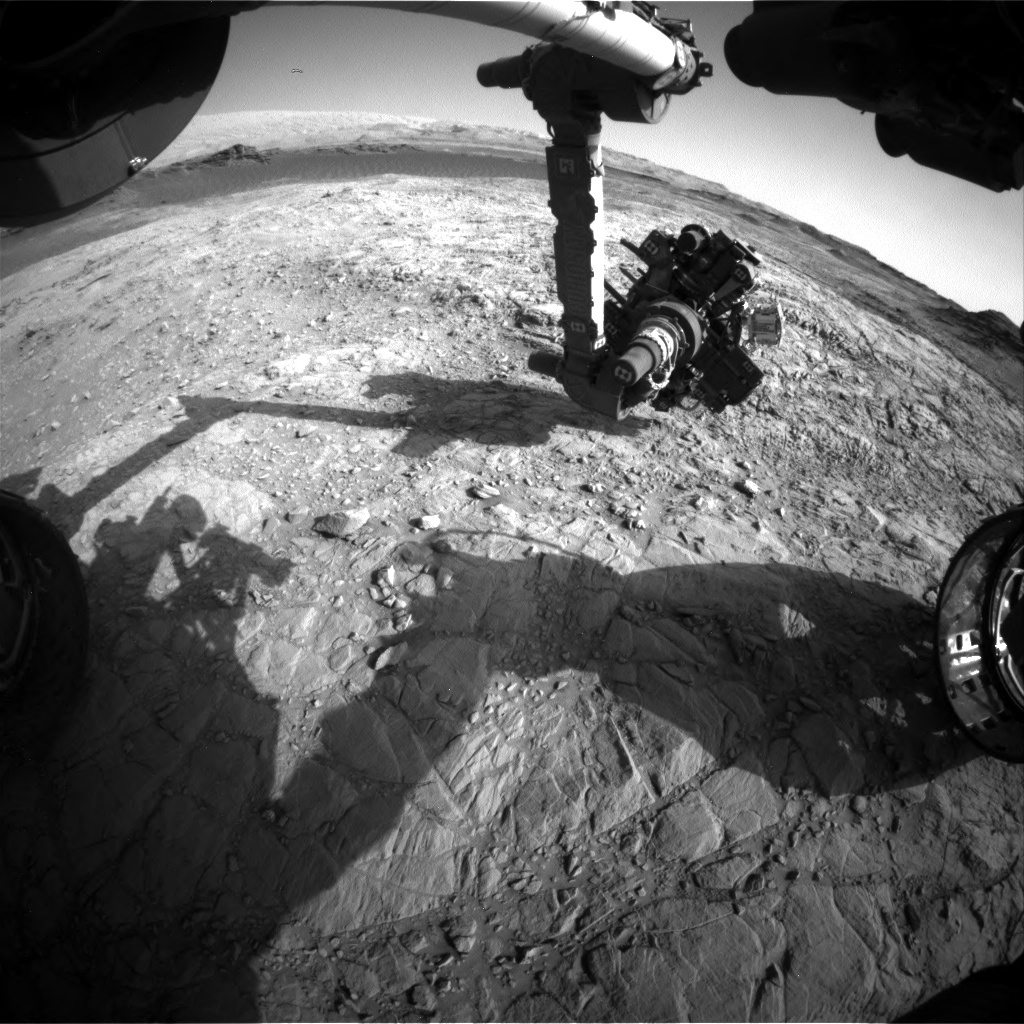 Nasa's Mars rover Curiosity acquired this image using its Front Hazard Avoidance Camera (Front Hazcam) on Sol 1375, at drive 3036, site number 54