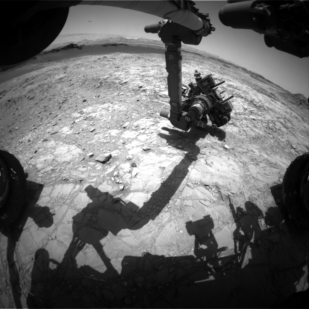 Nasa's Mars rover Curiosity acquired this image using its Front Hazard Avoidance Camera (Front Hazcam) on Sol 1376, at drive 3036, site number 54