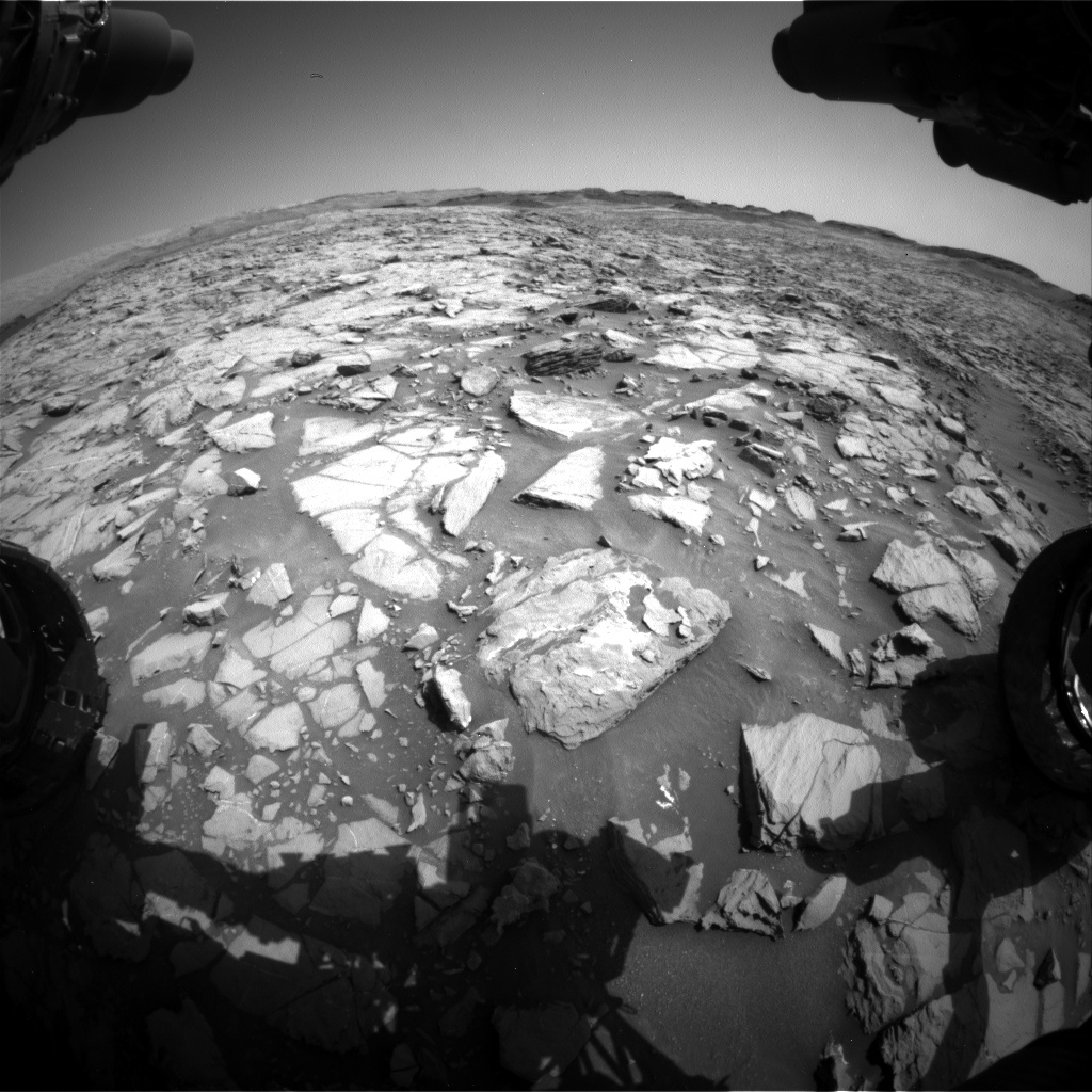 Nasa's Mars rover Curiosity acquired this image using its Front Hazard Avoidance Camera (Front Hazcam) on Sol 1383, at drive 538, site number 55