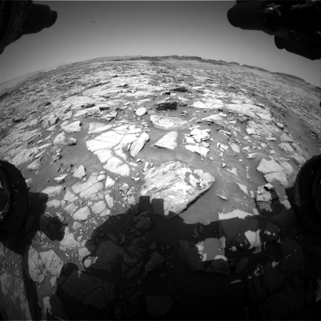 Nasa's Mars rover Curiosity acquired this image using its Front Hazard Avoidance Camera (Front Hazcam) on Sol 1384, at drive 538, site number 55