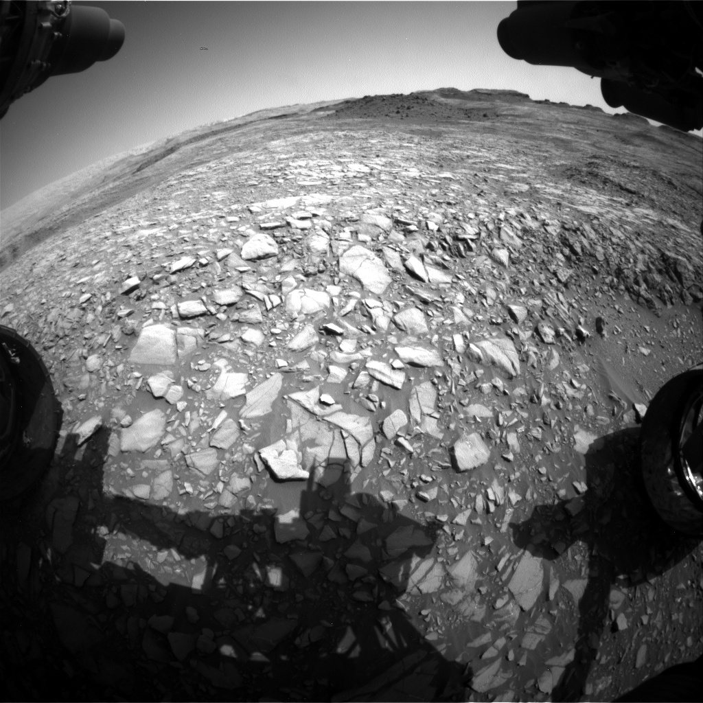 Nasa's Mars rover Curiosity acquired this image using its Front Hazard Avoidance Camera (Front Hazcam) on Sol 1387, at drive 1420, site number 55