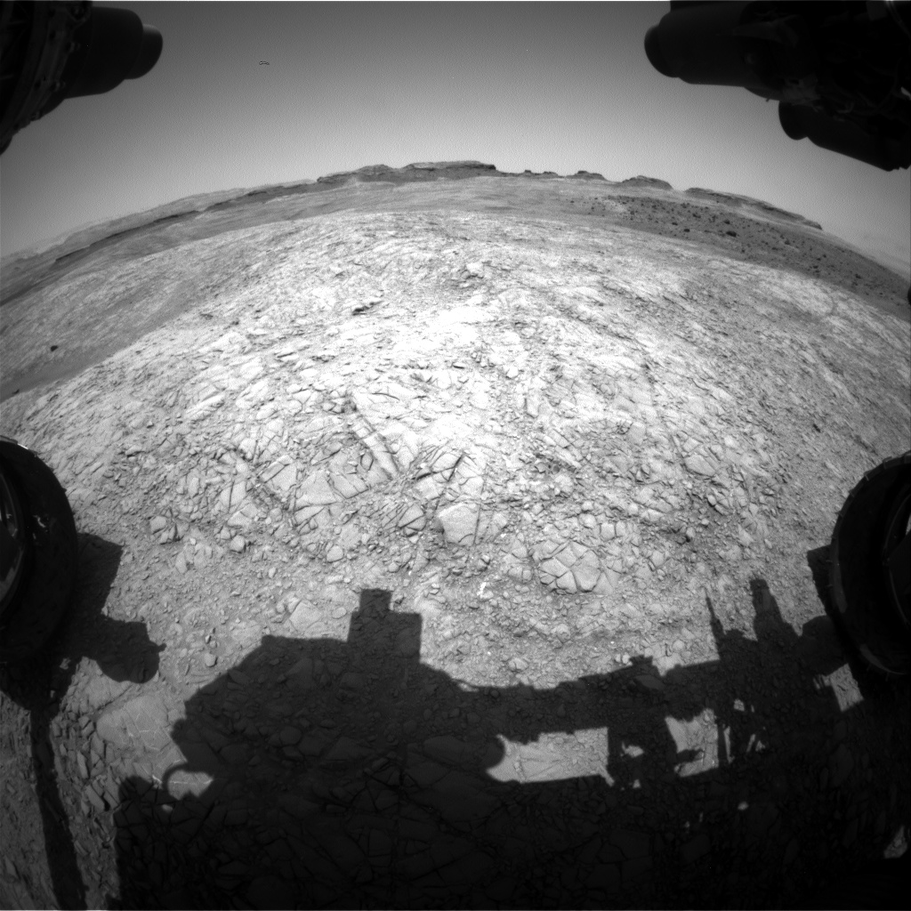 Nasa's Mars rover Curiosity acquired this image using its Front Hazard Avoidance Camera (Front Hazcam) on Sol 1399, at drive 1864, site number 55