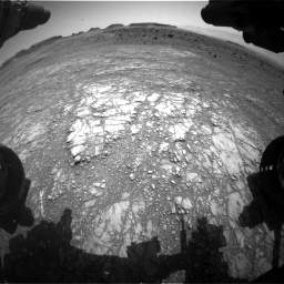 Nasa's Mars rover Curiosity acquired this image using its Front Hazard Avoidance Camera (Front Hazcam) on Sol 1399, at drive 2002, site number 55