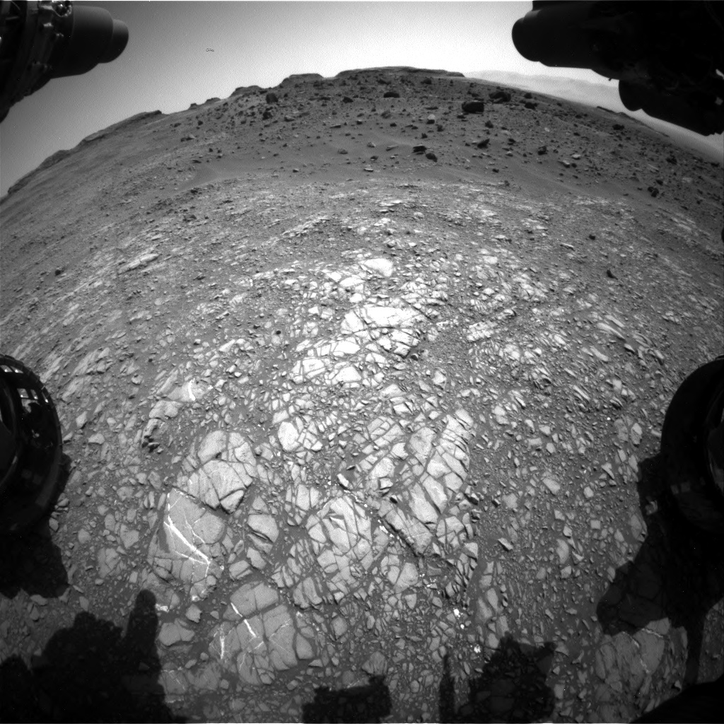 Nasa's Mars rover Curiosity acquired this image using its Front Hazard Avoidance Camera (Front Hazcam) on Sol 1399, at drive 2098, site number 55