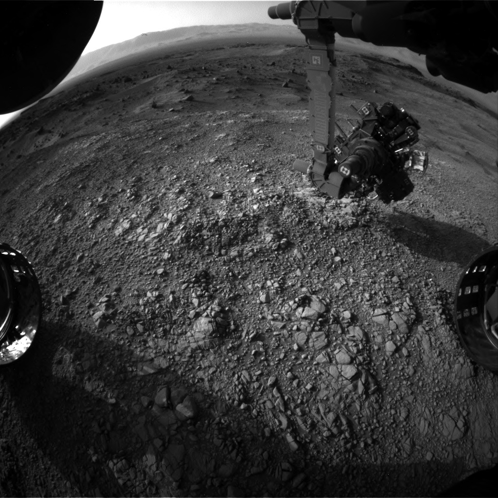 Nasa's Mars rover Curiosity acquired this image using its Front Hazard Avoidance Camera (Front Hazcam) on Sol 1403, at drive 2444, site number 55