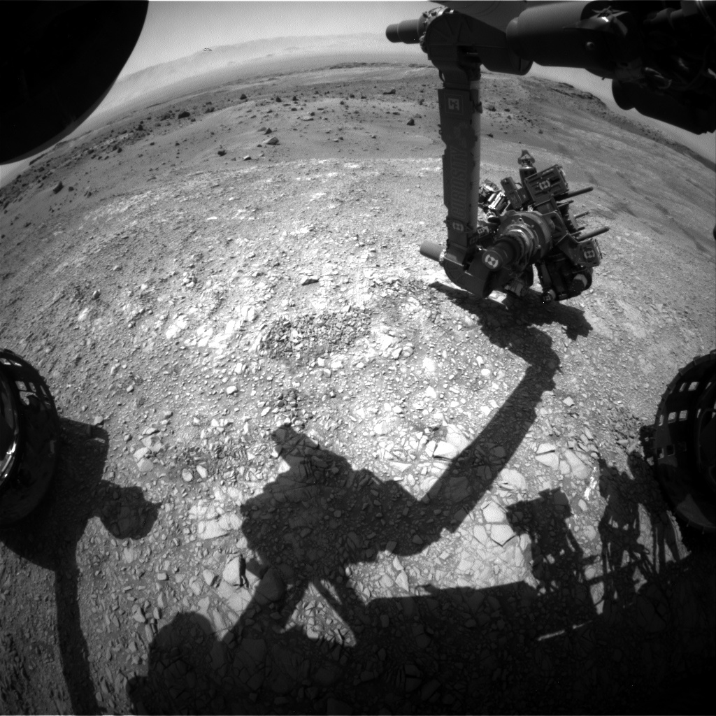 Nasa's Mars rover Curiosity acquired this image using its Front Hazard Avoidance Camera (Front Hazcam) on Sol 1404, at drive 2444, site number 55
