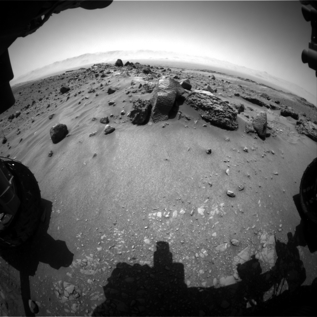 Hazcam view of the workspace on Sol 1406