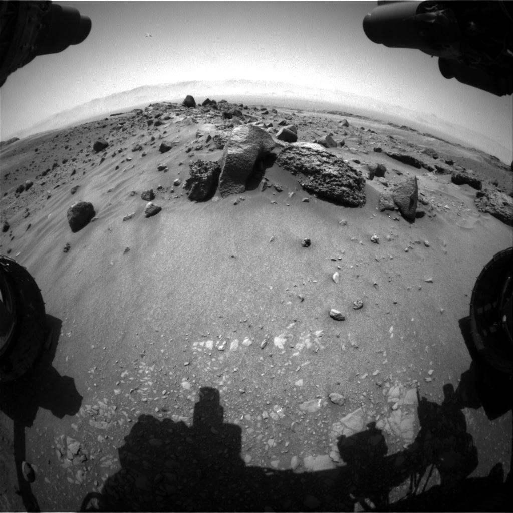 Nasa's Mars rover Curiosity acquired this image using its Front Hazard Avoidance Camera (Front Hazcam) on Sol 1406, at drive 0, site number 56