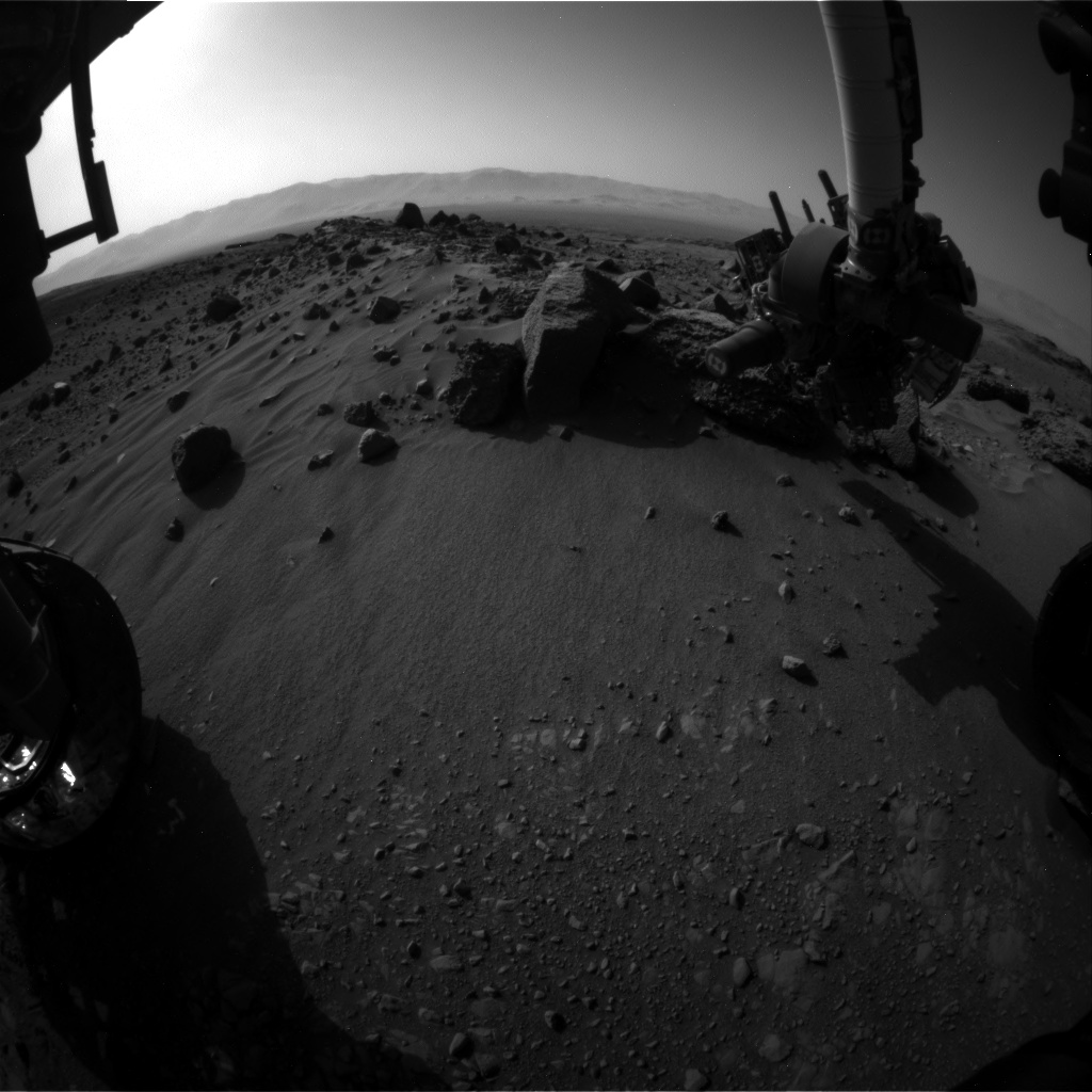 Nasa's Mars rover Curiosity acquired this image using its Front Hazard Avoidance Camera (Front Hazcam) on Sol 1409, at drive 0, site number 56