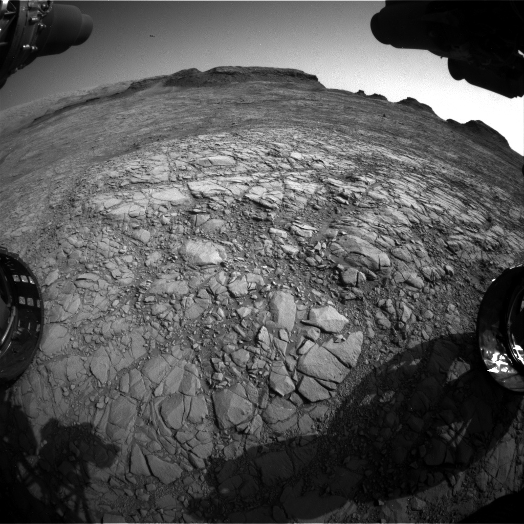 Nasa's Mars rover Curiosity acquired this image using its Front Hazard Avoidance Camera (Front Hazcam) on Sol 1410, at drive 462, site number 56