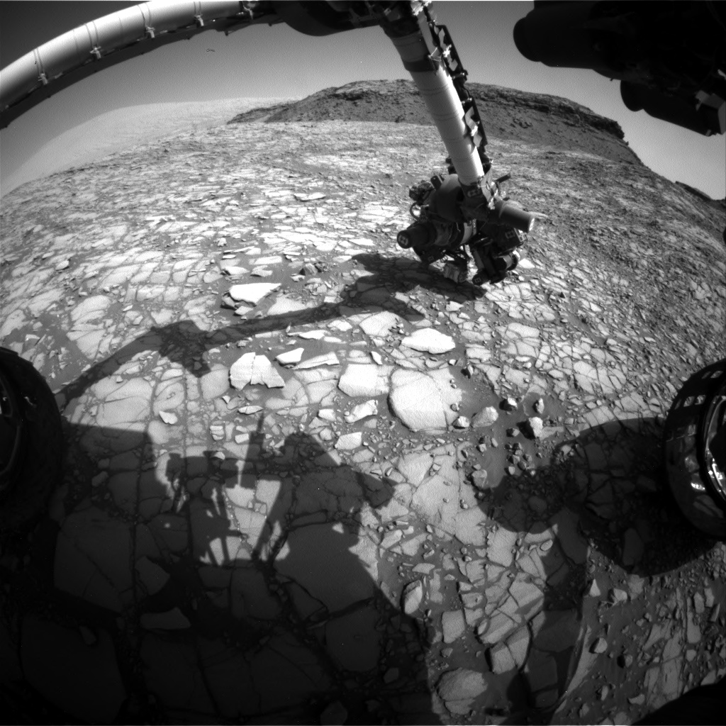 Nasa's Mars rover Curiosity acquired this image using its Front Hazard Avoidance Camera (Front Hazcam) on Sol 1416, at drive 1122, site number 56
