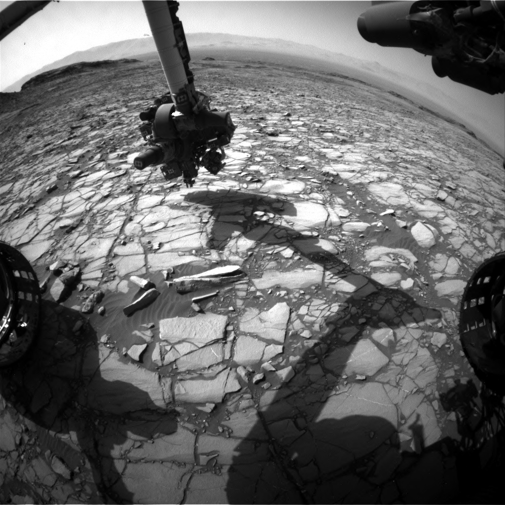 Nasa's Mars rover Curiosity acquired this image using its Front Hazard Avoidance Camera (Front Hazcam) on Sol 1418, at drive 1236, site number 56