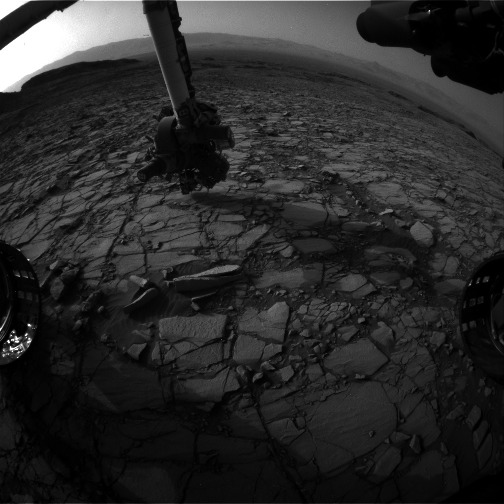 NASA's Mars rover Curiosity acquired this image using its Front Hazard Avoidance Cameras (Front Hazcams) on Sol 1418