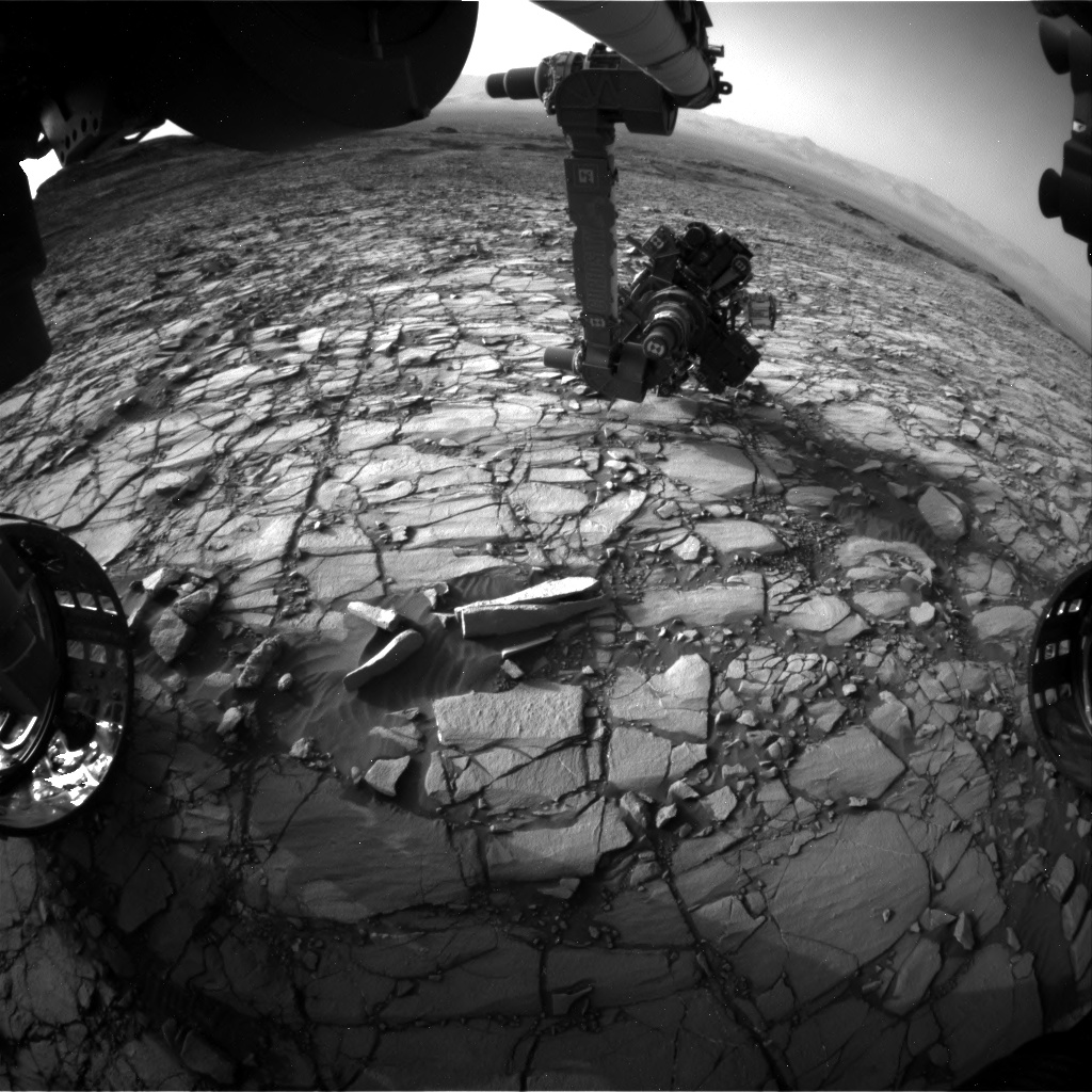 Nasa's Mars rover Curiosity acquired this image using its Front Hazard Avoidance Camera (Front Hazcam) on Sol 1419, at drive 1236, site number 56