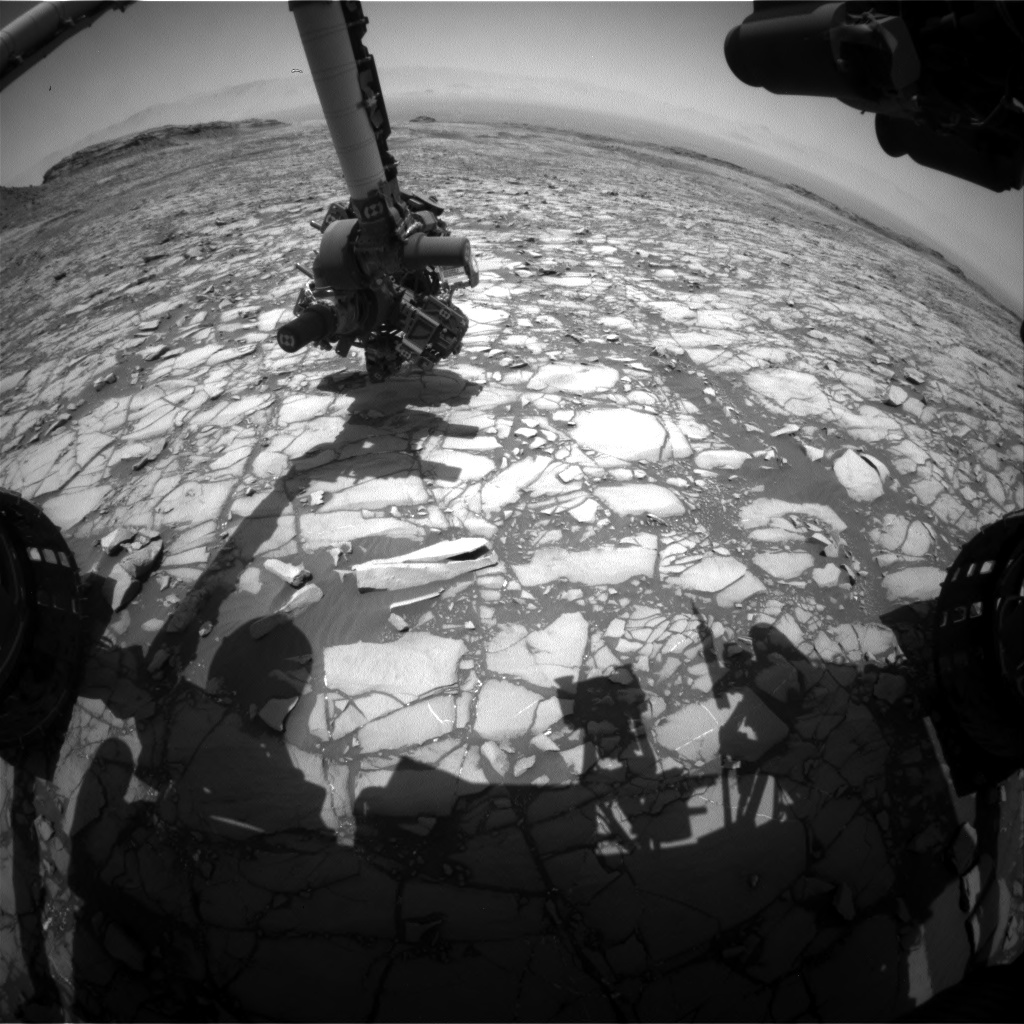 Nasa's Mars rover Curiosity acquired this image using its Front Hazard Avoidance Camera (Front Hazcam) on Sol 1420, at drive 1236, site number 56