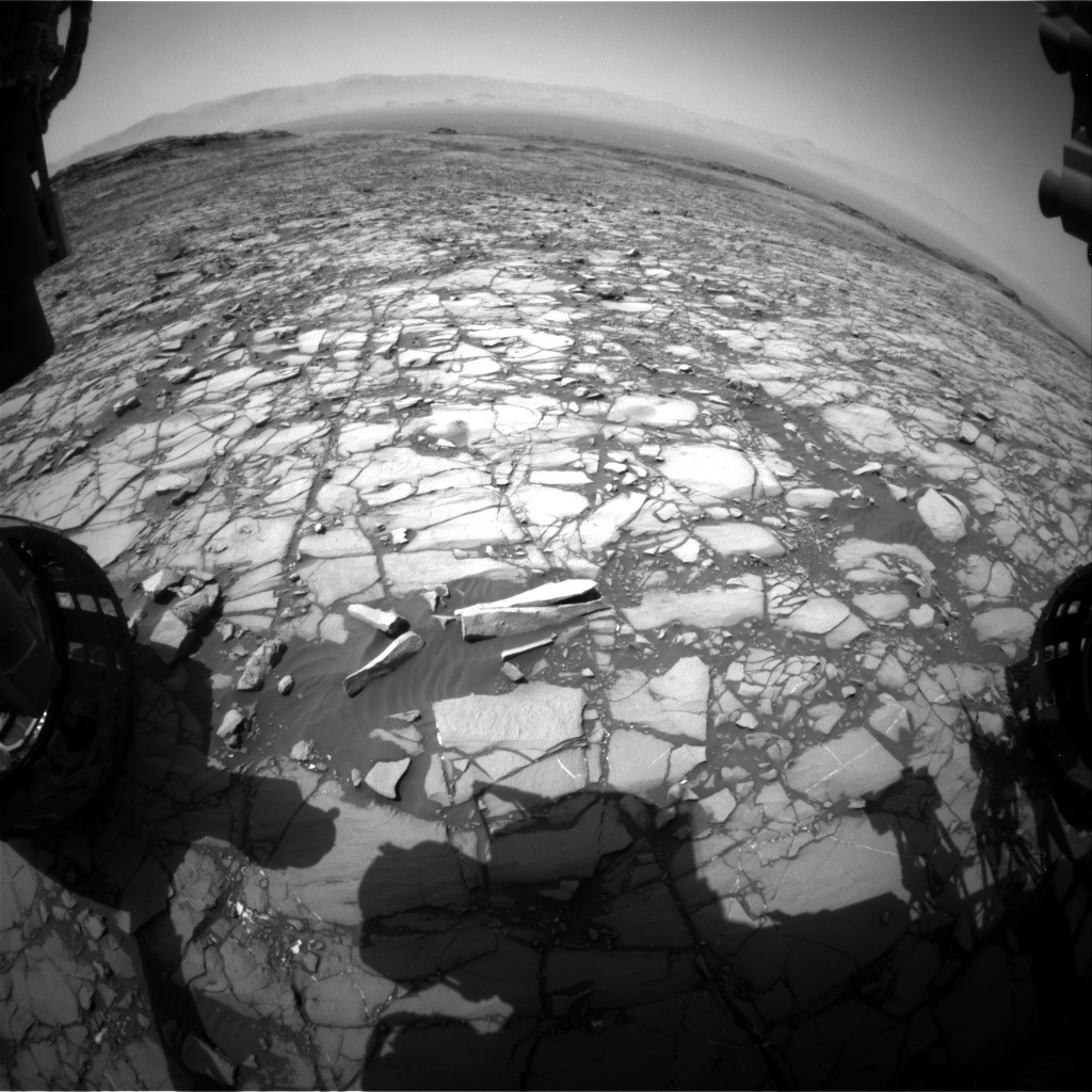 NASA's Mars rover Curiosity acquired this image using its Front Hazard Avoidance Cameras (Front Hazcams) on Sol 1421