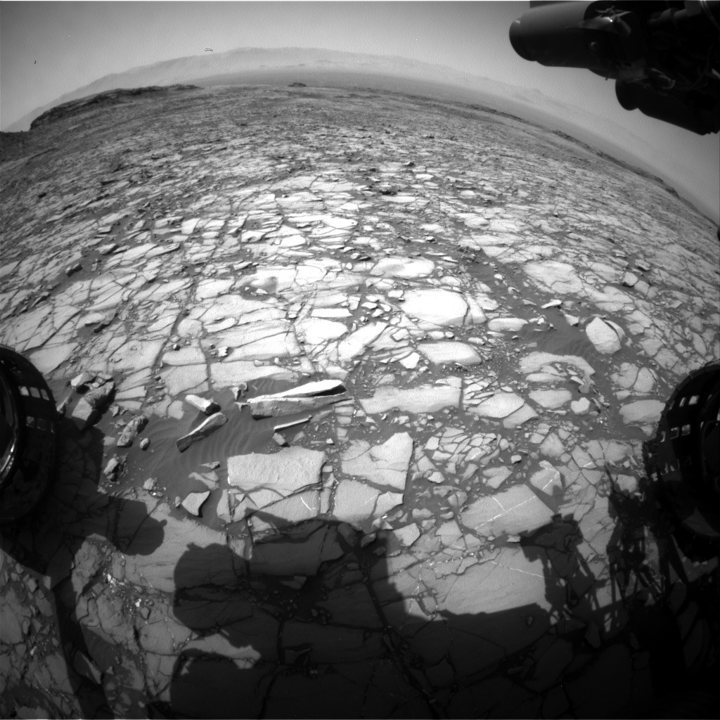 Nasa's Mars rover Curiosity acquired this image using its Front Hazard Avoidance Camera (Front Hazcam) on Sol 1421, at drive 1236, site number 56