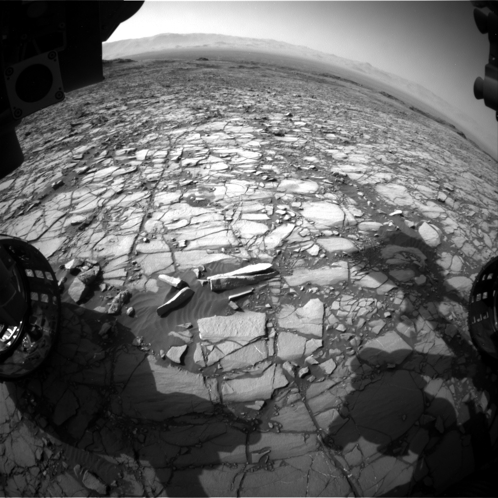 Nasa's Mars rover Curiosity acquired this image using its Front Hazard Avoidance Camera (Front Hazcam) on Sol 1423, at drive 1236, site number 56