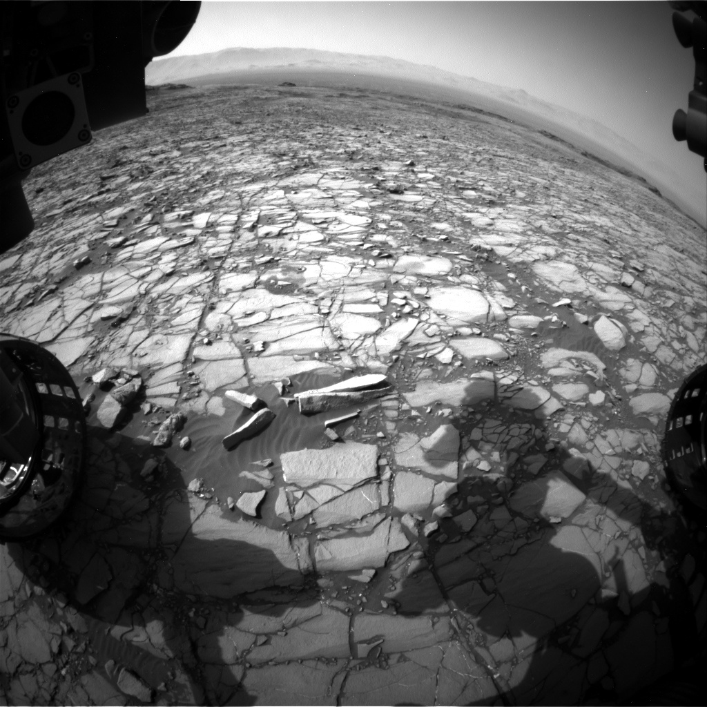 Nasa's Mars rover Curiosity acquired this image using its Front Hazard Avoidance Camera (Front Hazcam) on Sol 1425, at drive 1236, site number 56