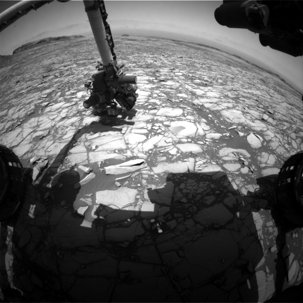 Nasa's Mars rover Curiosity acquired this image using its Front Hazard Avoidance Camera (Front Hazcam) on Sol 1427, at drive 1236, site number 56