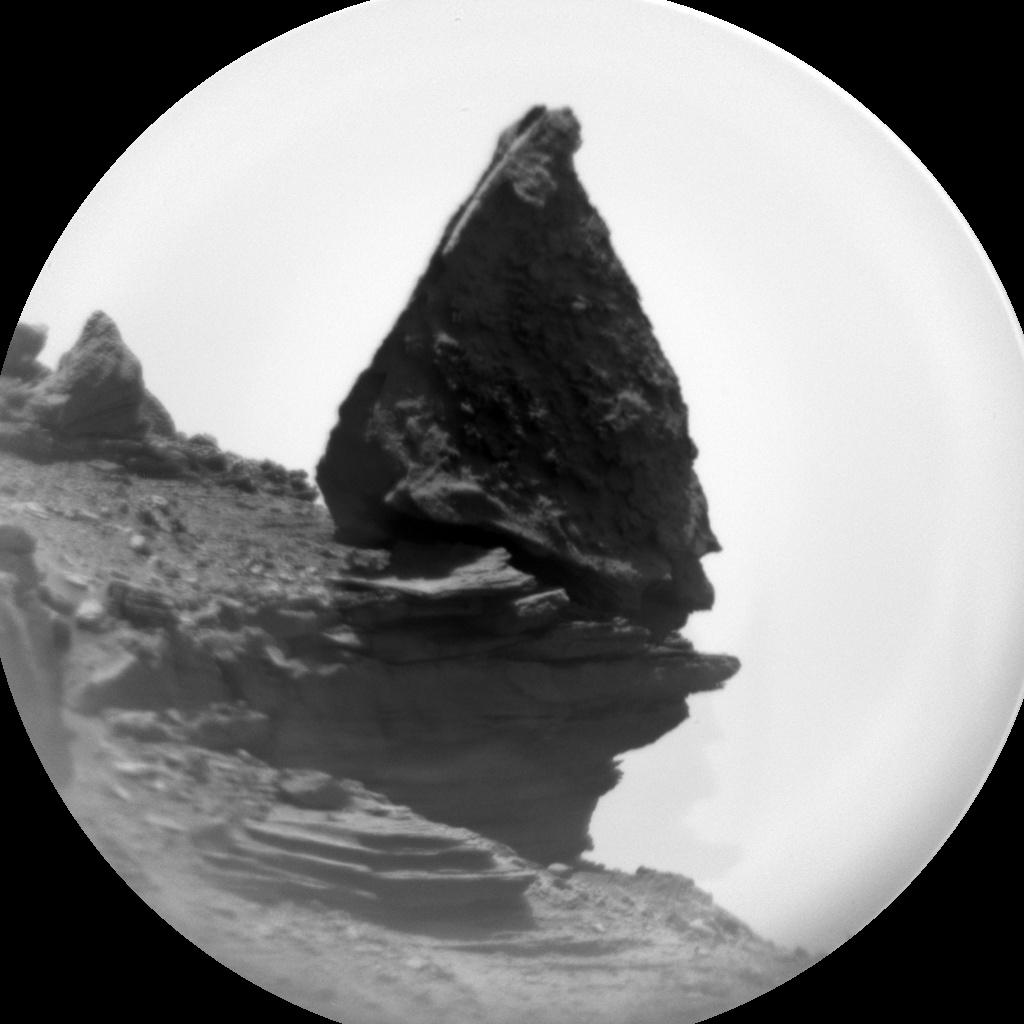 ChemCam RMI image of a precariously balanced rock.