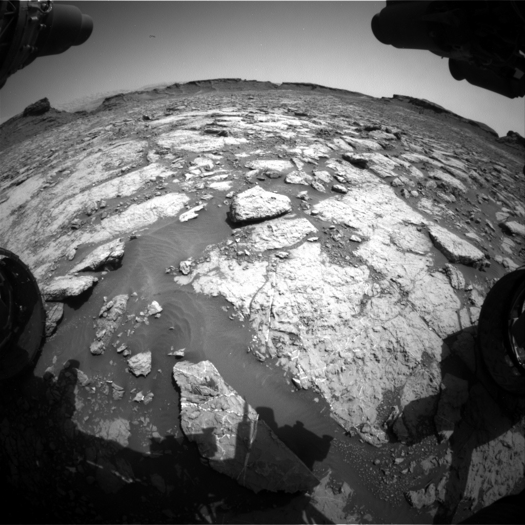 Nasa's Mars rover Curiosity acquired this image using its Front Hazard Avoidance Camera (Front Hazcam) on Sol 1433, at drive 0, site number 57