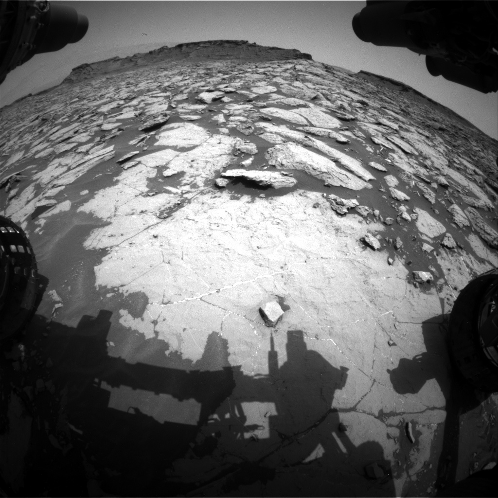Nasa's Mars rover Curiosity acquired this image using its Front Hazard Avoidance Camera (Front Hazcam) on Sol 1438, at drive 774, site number 57