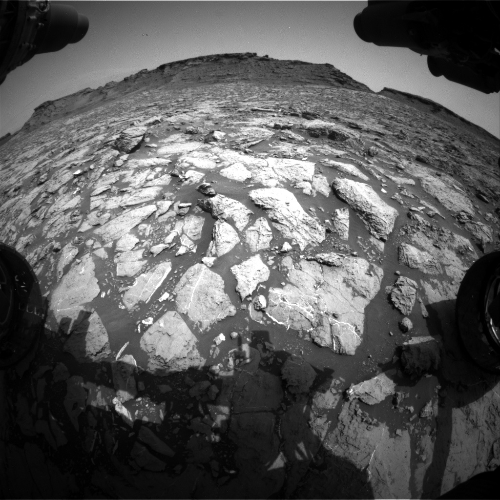 Nasa's Mars rover Curiosity acquired this image using its Front Hazard Avoidance Camera (Front Hazcam) on Sol 1442, at drive 1020, site number 57