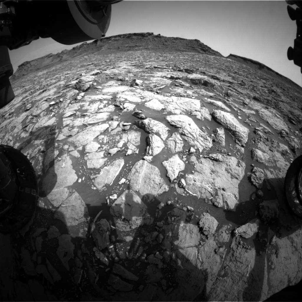 Nasa's Mars rover Curiosity acquired this image using its Front Hazard Avoidance Camera (Front Hazcam) on Sol 1443, at drive 1020, site number 57