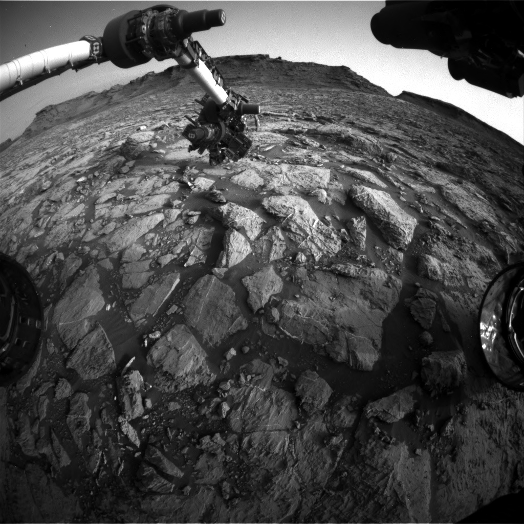Nasa's Mars rover Curiosity acquired this image using its Front Hazard Avoidance Camera (Front Hazcam) on Sol 1444, at drive 1020, site number 57