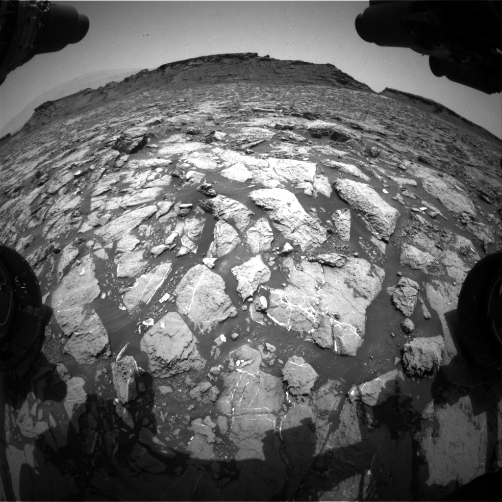 Nasa's Mars rover Curiosity acquired this image using its Front Hazard Avoidance Camera (Front Hazcam) on Sol 1445, at drive 1020, site number 57