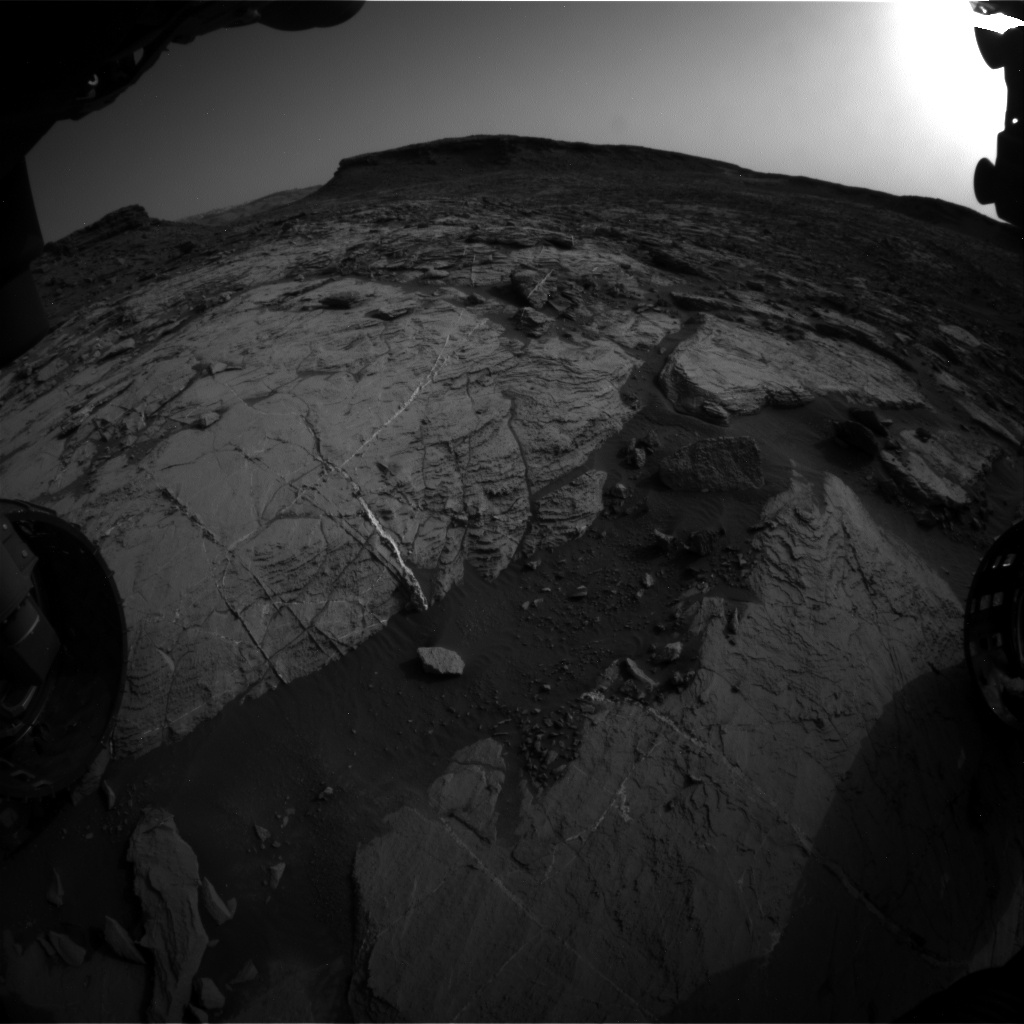 Nasa's Mars rover Curiosity acquired this image using its Front Hazard Avoidance Camera (Front Hazcam) on Sol 1446, at drive 1392, site number 57