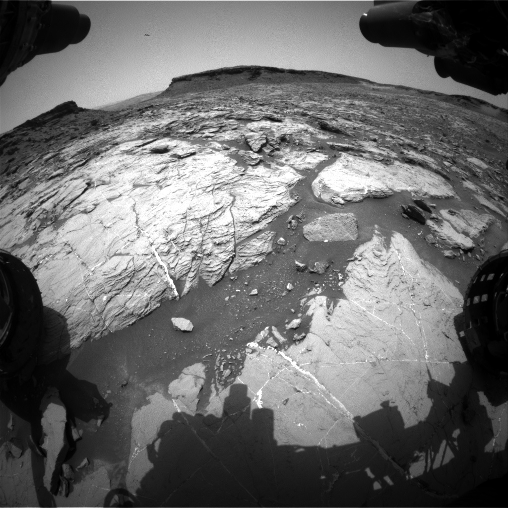 Nasa's Mars rover Curiosity acquired this image using its Front Hazard Avoidance Camera (Front Hazcam) on Sol 1447, at drive 1392, site number 57