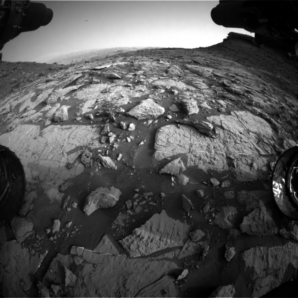NASA's Mars rover Curiosity acquired this image using its Front Hazard Avoidance Cameras (Front Hazcams) on Sol 1448