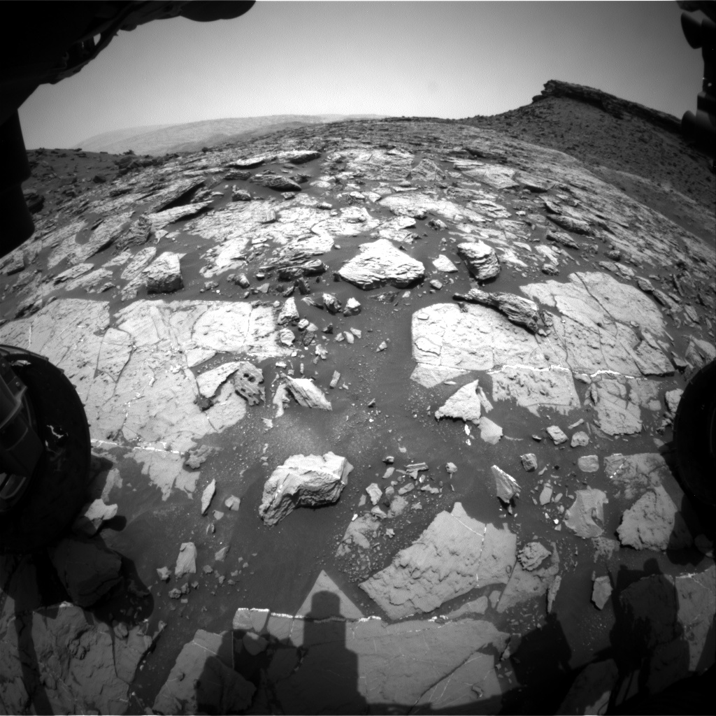 Nasa's Mars rover Curiosity acquired this image using its Front Hazard Avoidance Camera (Front Hazcam) on Sol 1450, at drive 1942, site number 57