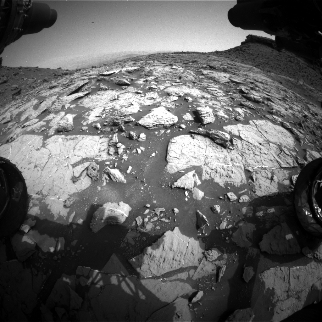 Nasa's Mars rover Curiosity acquired this image using its Front Hazard Avoidance Camera (Front Hazcam) on Sol 1451, at drive 1942, site number 57