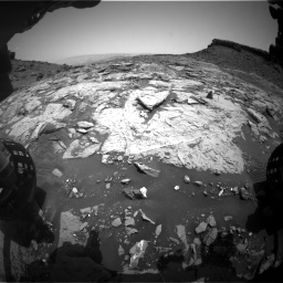 Nasa's Mars rover Curiosity acquired this image using its Front Hazard Avoidance Camera (Front Hazcam) on Sol 1452, at drive 1960, site number 57