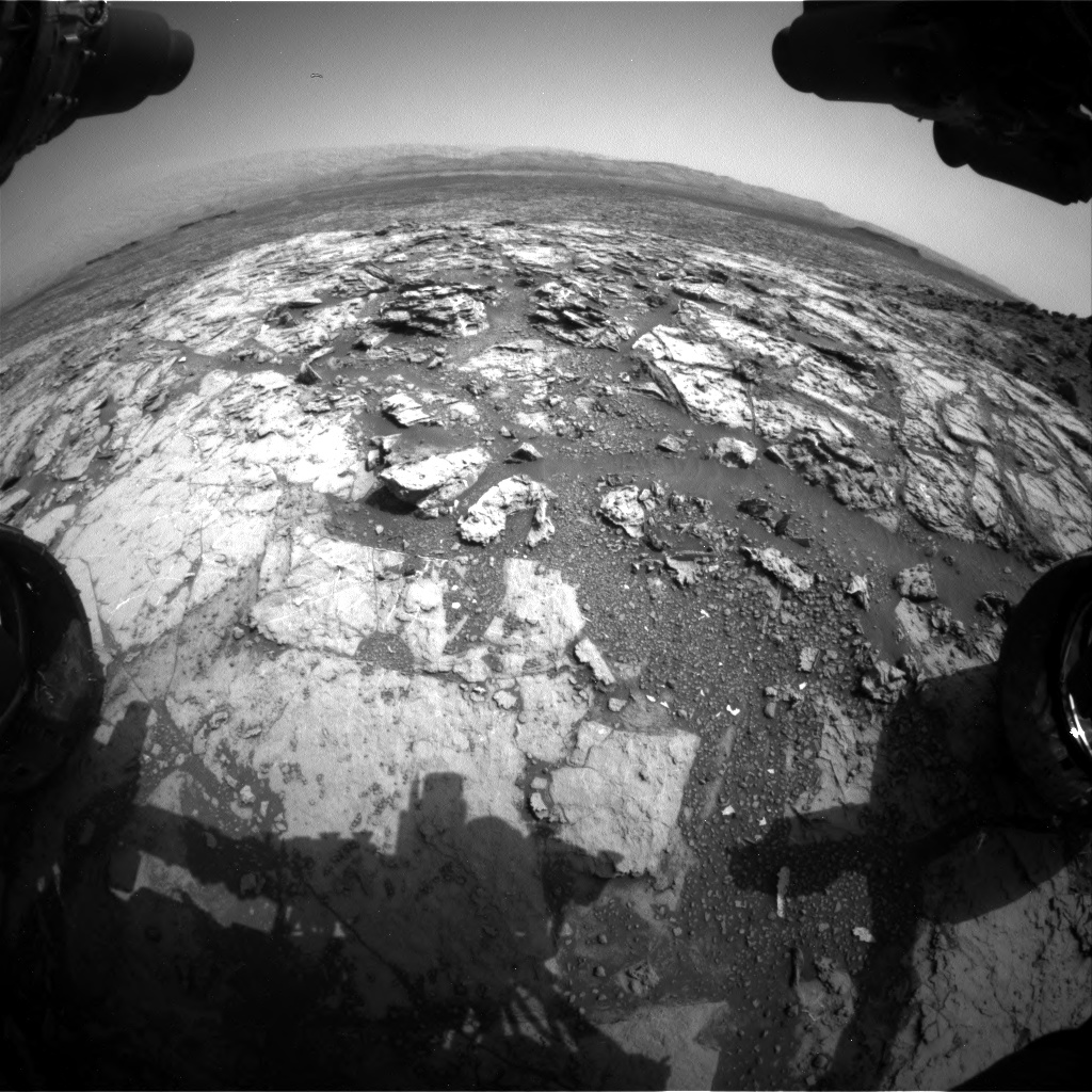 Nasa's Mars rover Curiosity acquired this image using its Front Hazard Avoidance Camera (Front Hazcam) on Sol 1452, at drive 2206, site number 57