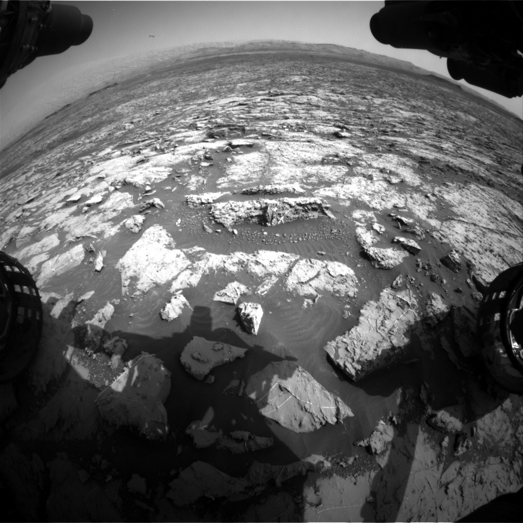 Nasa's Mars rover Curiosity acquired this image using its Front Hazard Avoidance Camera (Front Hazcam) on Sol 1452, at drive 2296, site number 57
