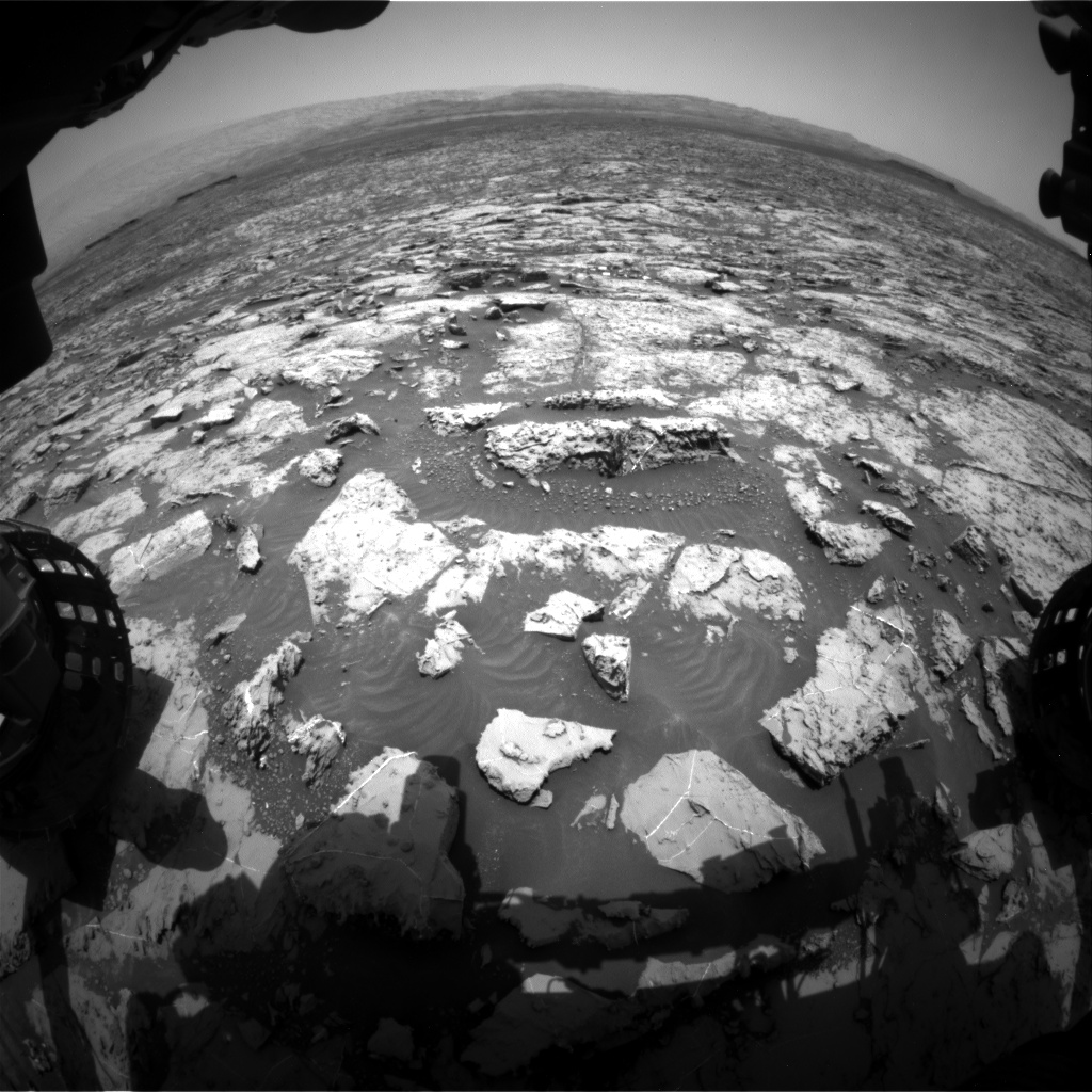 Nasa's Mars rover Curiosity acquired this image using its Front Hazard Avoidance Camera (Front Hazcam) on Sol 1453, at drive 2296, site number 57