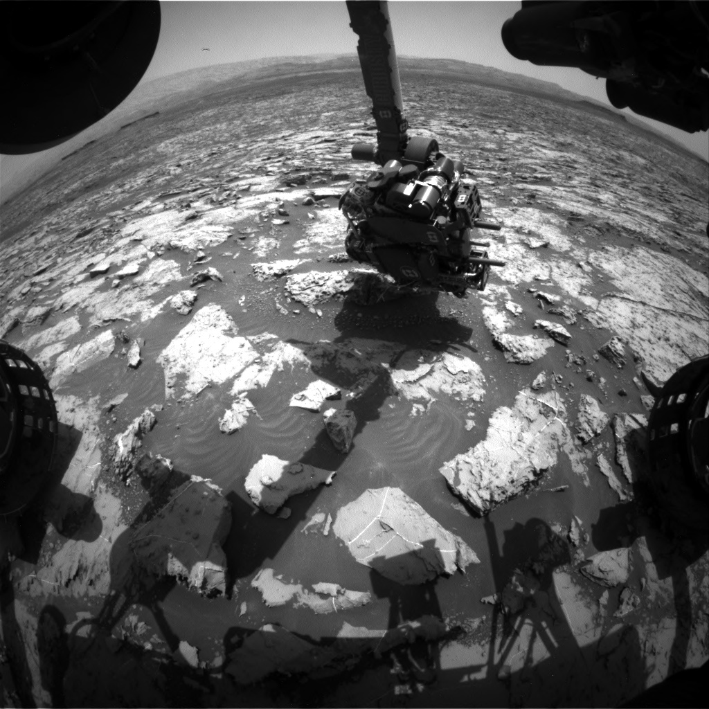 Nasa's Mars rover Curiosity acquired this image using its Front Hazard Avoidance Camera (Front Hazcam) on Sol 1454, at drive 2296, site number 57