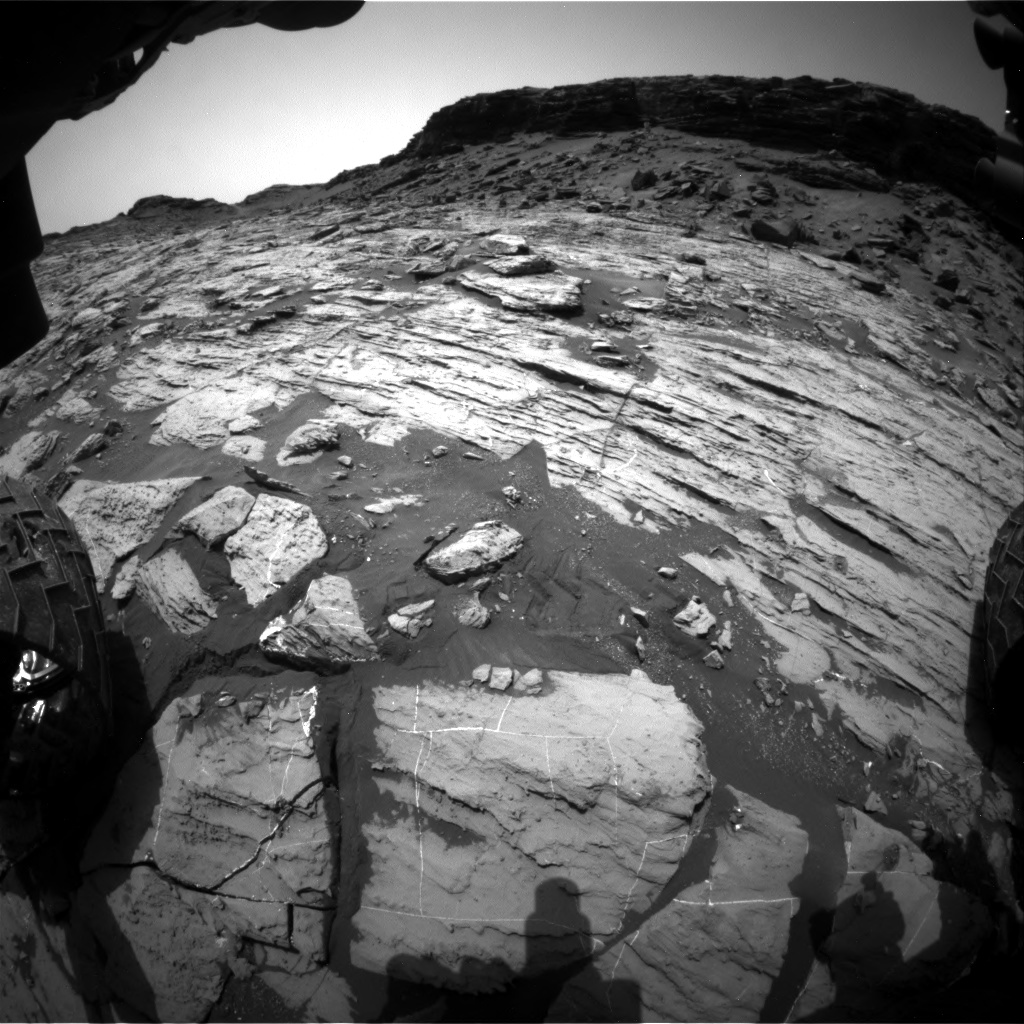 Nasa's Mars rover Curiosity acquired this image using its Front Hazard Avoidance Camera (Front Hazcam) on Sol 1455, at drive 2762, site number 57