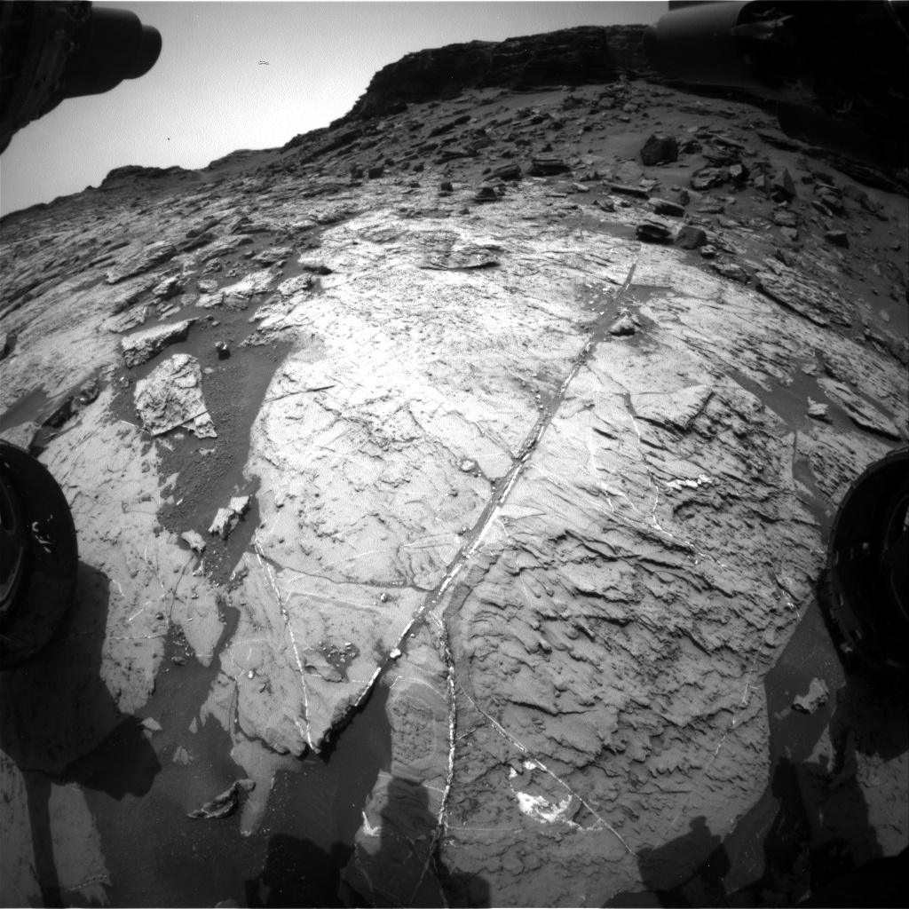 Nasa's Mars rover Curiosity acquired this image using its Front Hazard Avoidance Camera (Front Hazcam) on Sol 1455, at drive 2798, site number 57